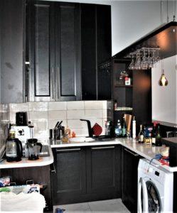 кухня из шпона дуба с барной стойкой