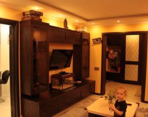 мебель на заказ для гостиной из массива дуба.